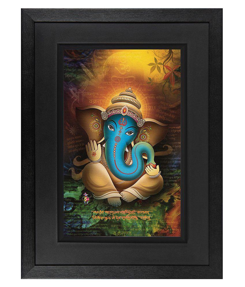 JAF Lord Ganesha Wood Art Prints With Double Frame Single Piece