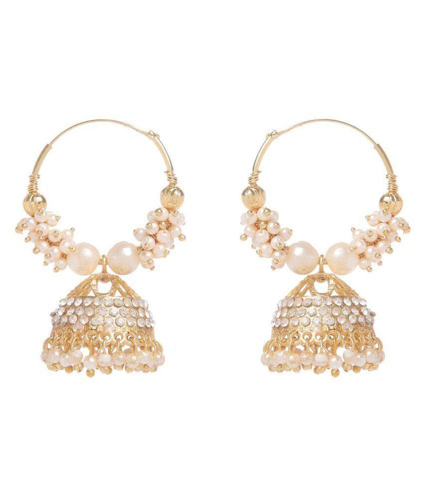 GoldNera Golden and White Alloy Jhumki Earrings