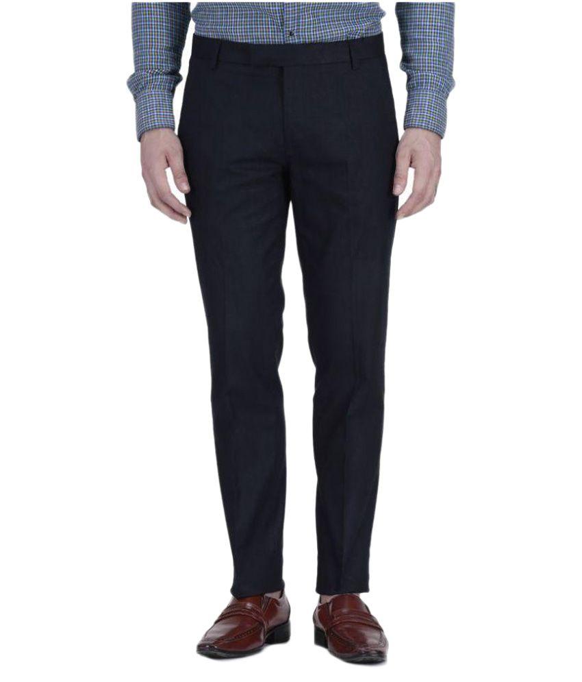 Vandnam Fabrics Navy Regular Flat Trouser