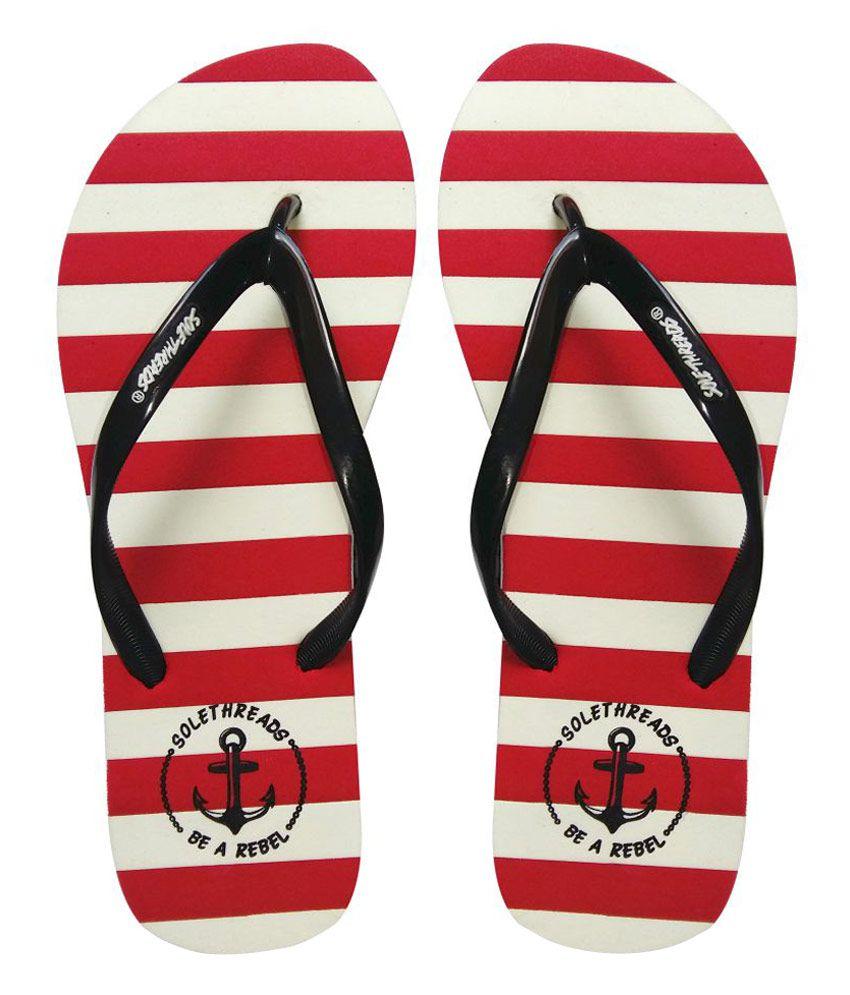 Sole Threads Black & Red Flip Flops
