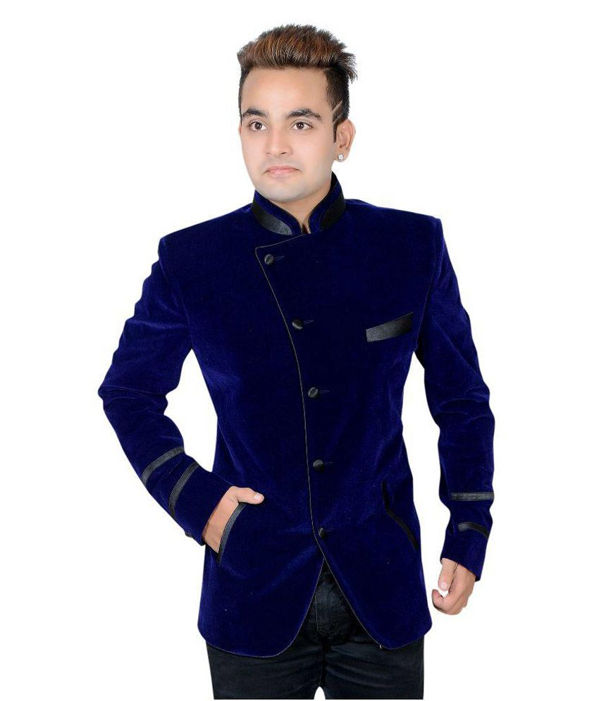Shaurya-F Blue Solid Party 2 Piece Suits with Broach