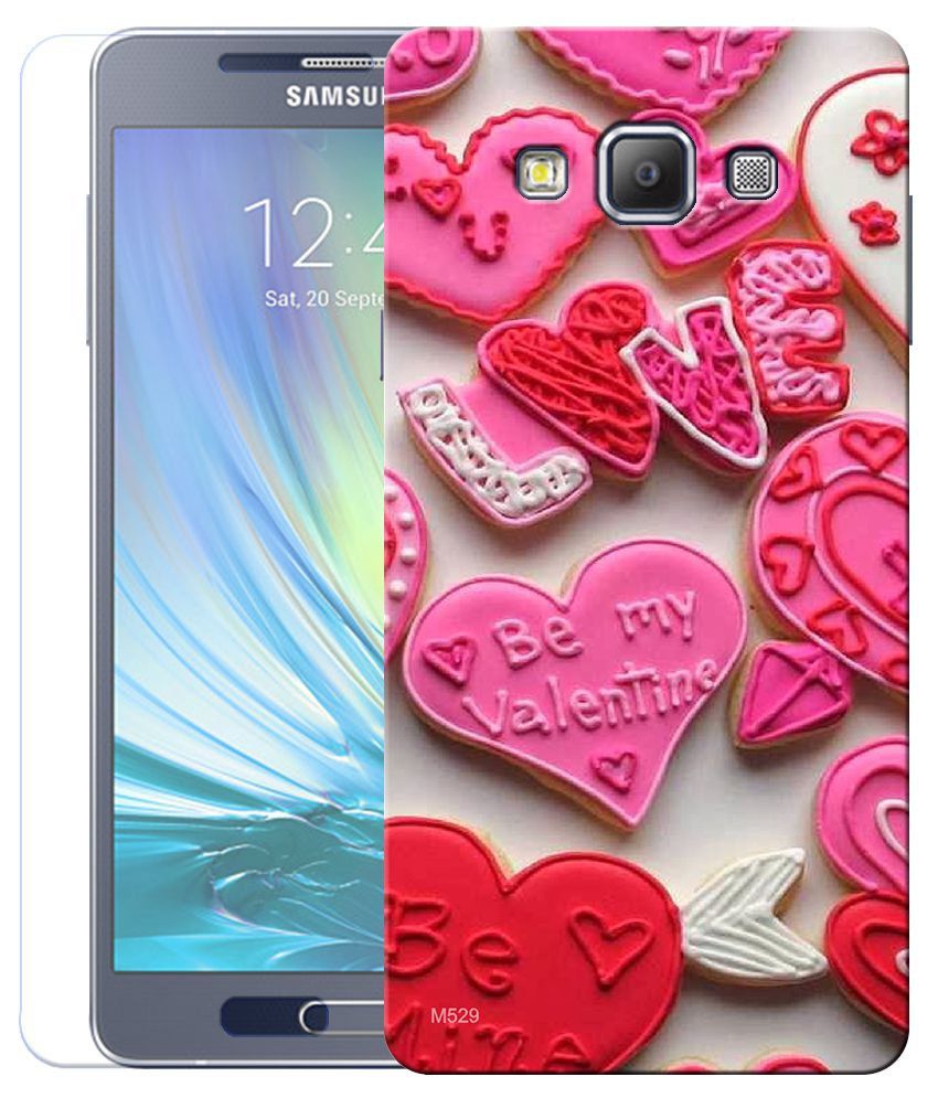 Finest Combo of Love Valentine HD UV Printed Mobile Back Cover and Tempered Glass For Samsung Galaxy A7