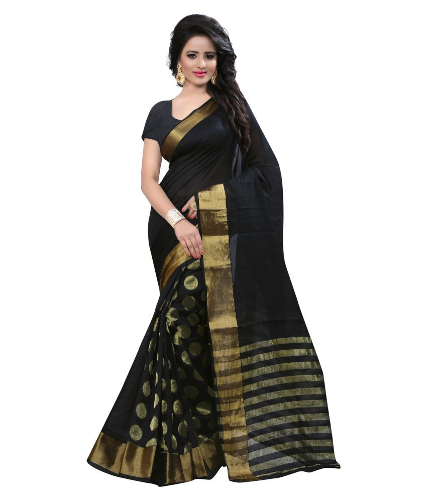 Shopping Point Black Cotton Poly Saree