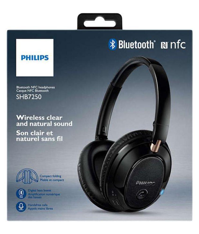 4bd2cc6c0b9 Philips SHB7250/00 Over Ear Wireless Headphones With Mic Black - Buy ...