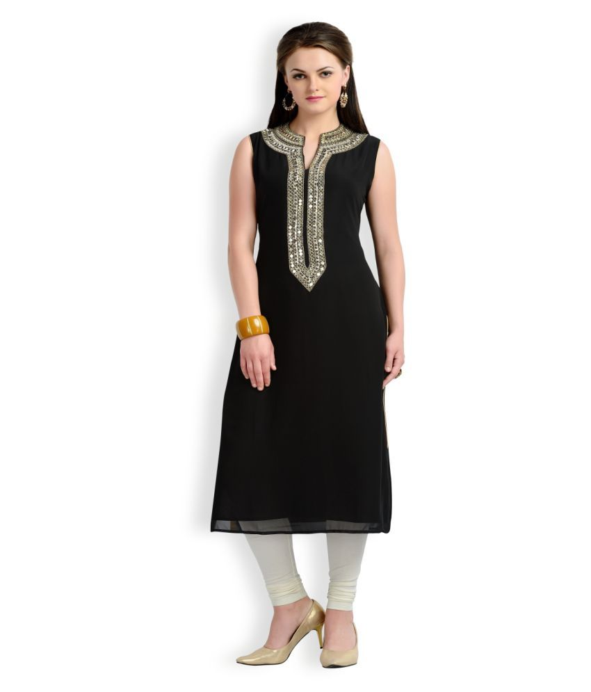 Zola Black Synthetic Straight Kurti