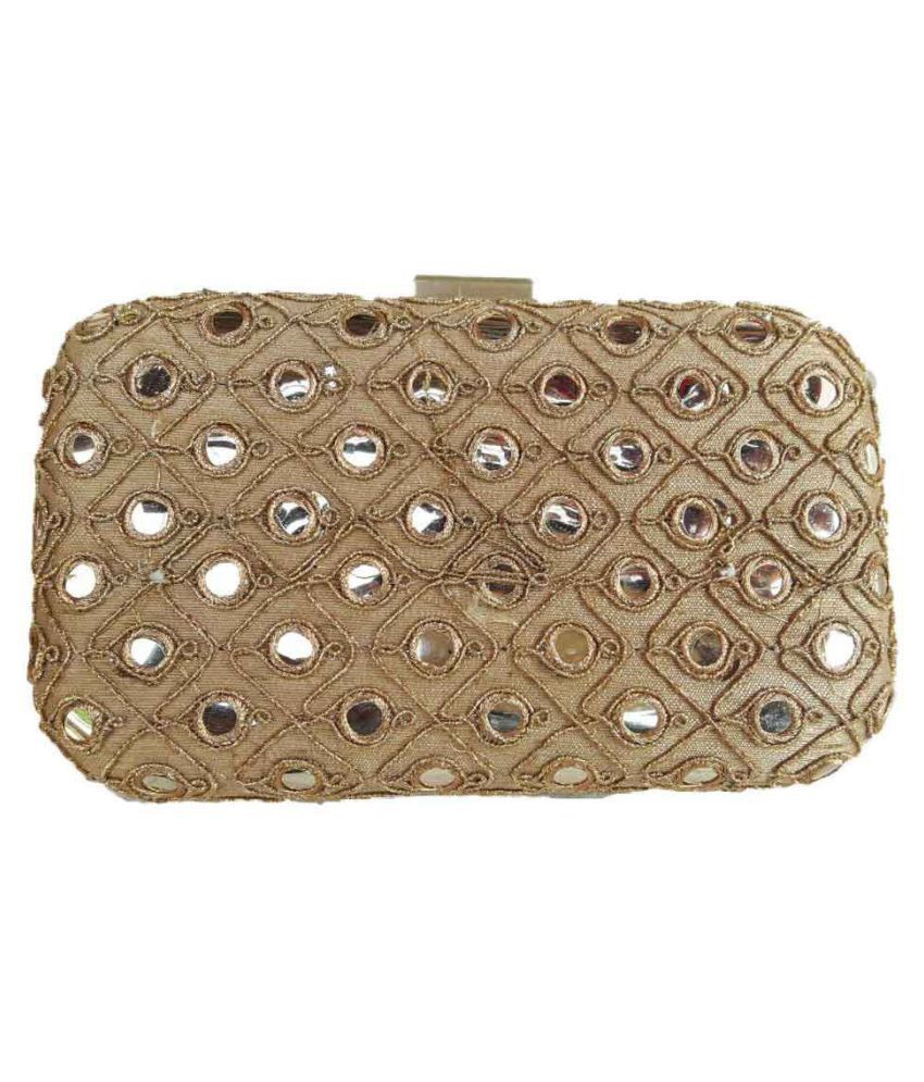 TheIndianHandicraftstore Gold Fabric Box Clutch