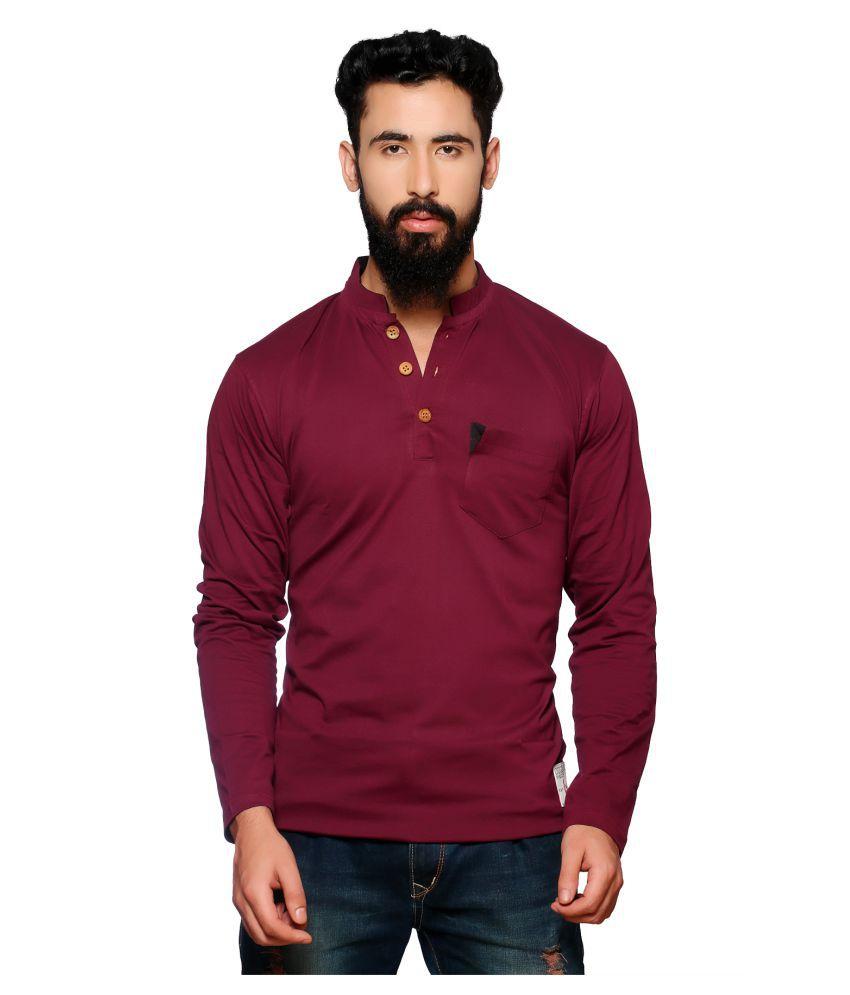 Nucode Maroon Henley T-Shirt