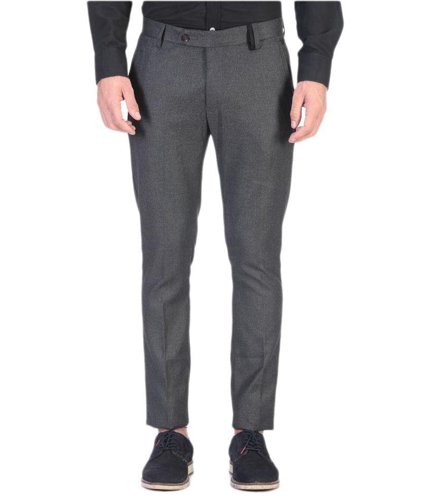 Vandnam Fabrics Grey Skinny Pleated Trouser