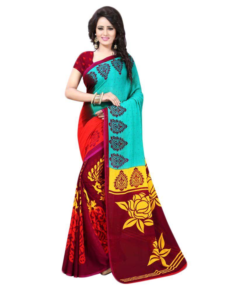 Swaraanjali Fashion Multicoloured Georgette Saree