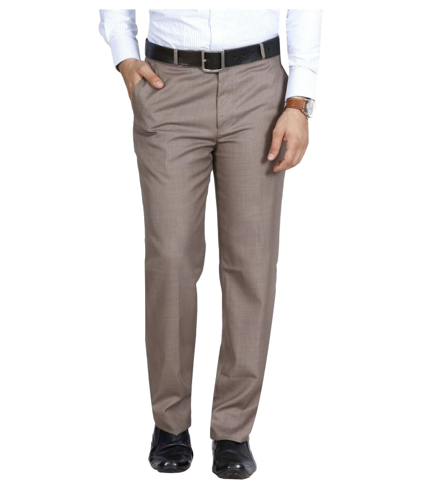 Mchenry Beige Regular Flat Trouser