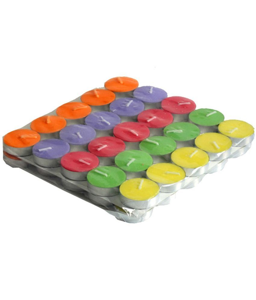 Skycandle Multicolour Lac Tea Light Candle - 50 Pieces