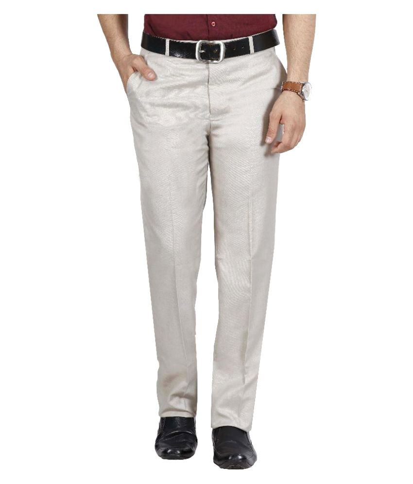 Mchenry Off White Regular Flat Trouser