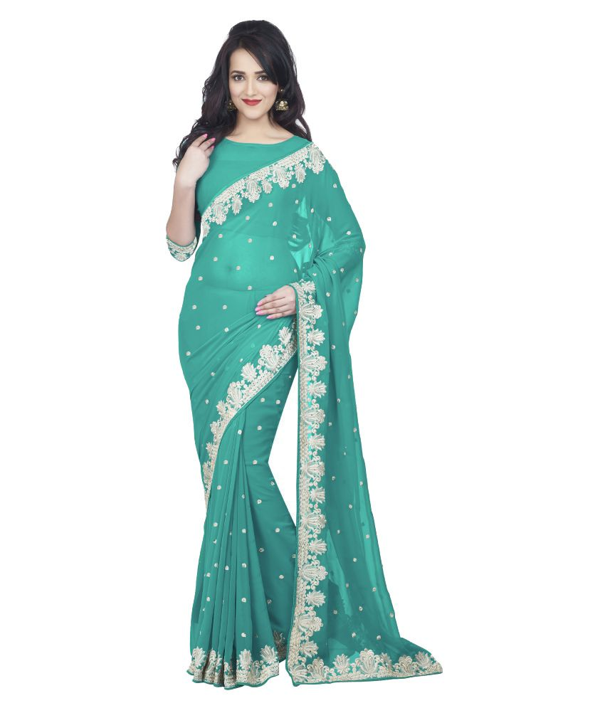 Oomph Turquoise Georgette Saree