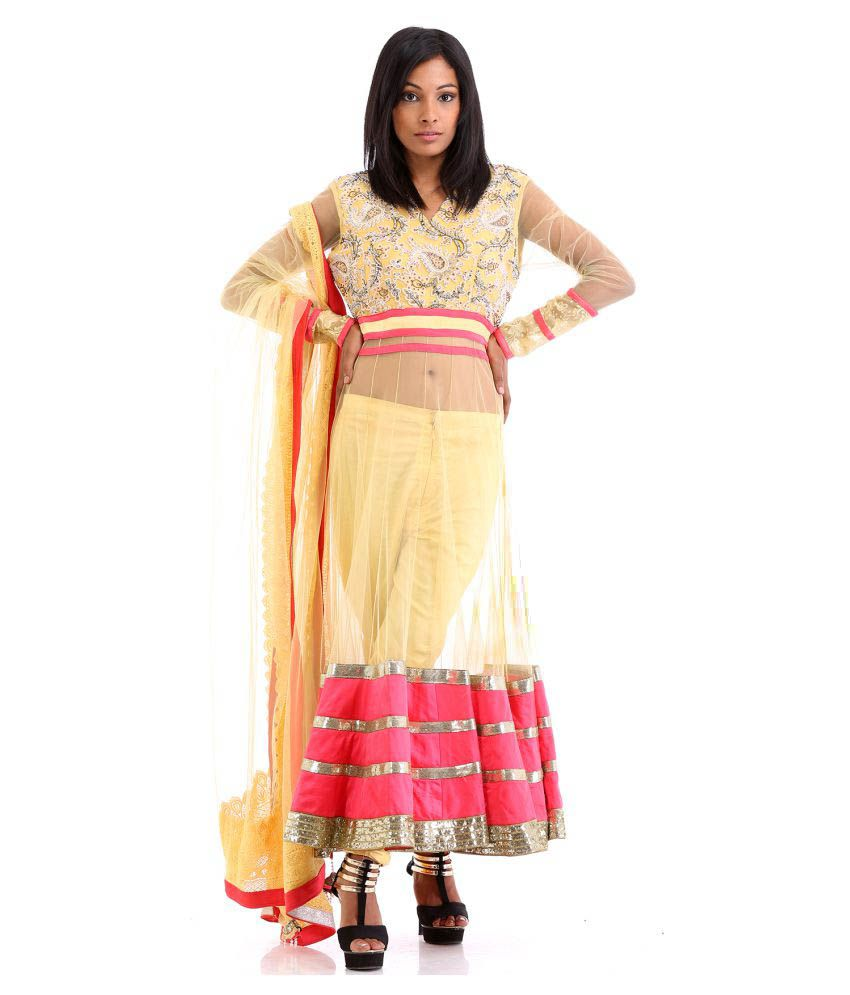 Zarivastram Yellow Net Anarkali