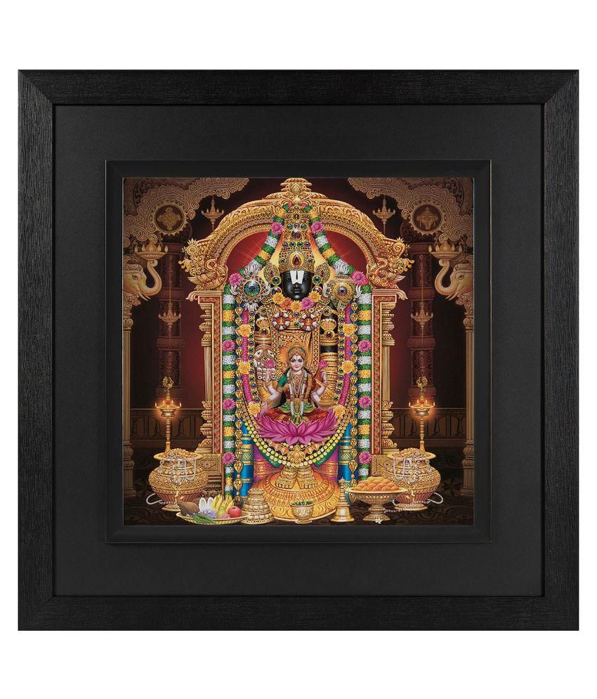 JAF Religious, Goddess Lakshmi, Black and Double  framed painting Wood Art Prints With Frame Single Piece