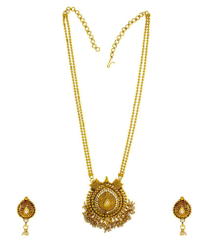 Anuradha Art Golden Necklace Set