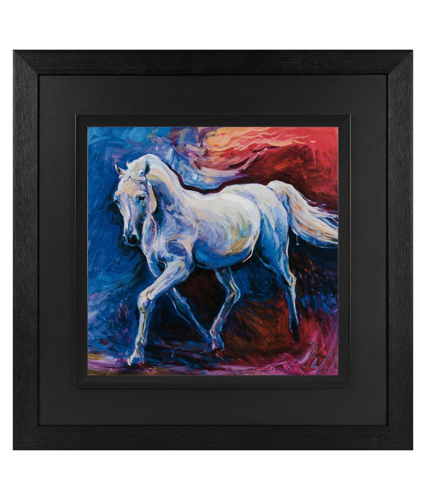 JAF Horse painting, Black and Double  framed painting Wood Art Prints With Frame Single Piece