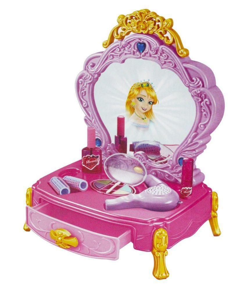 Pink Dresser Set With Mirror Reflection