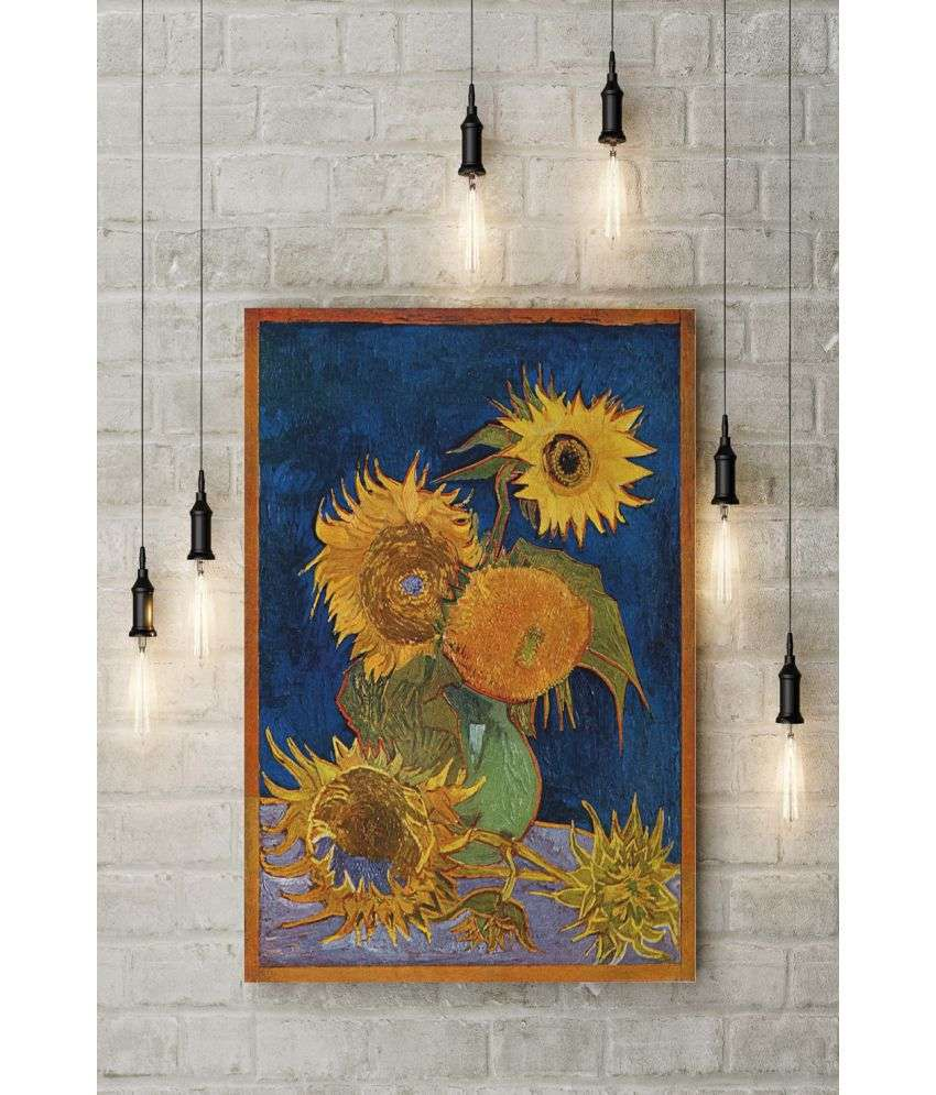 Canvs Sunflowers (F.459), second version: royal-blue background Wood Art Prints With Frame Single Piece