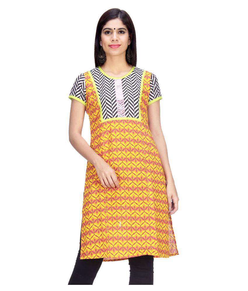Taaga Yellow Cotton Straight Kurti