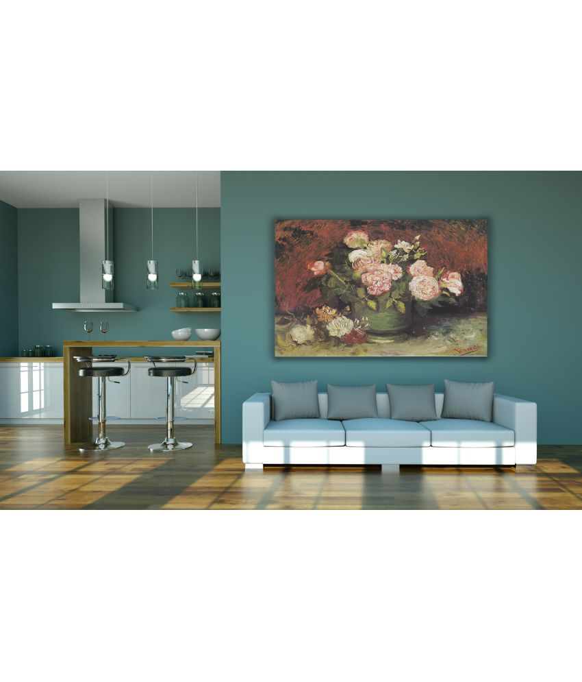 Canvs Bowl with Peonies and Roses, 1886 Wood Art Prints With Frame Single Piece