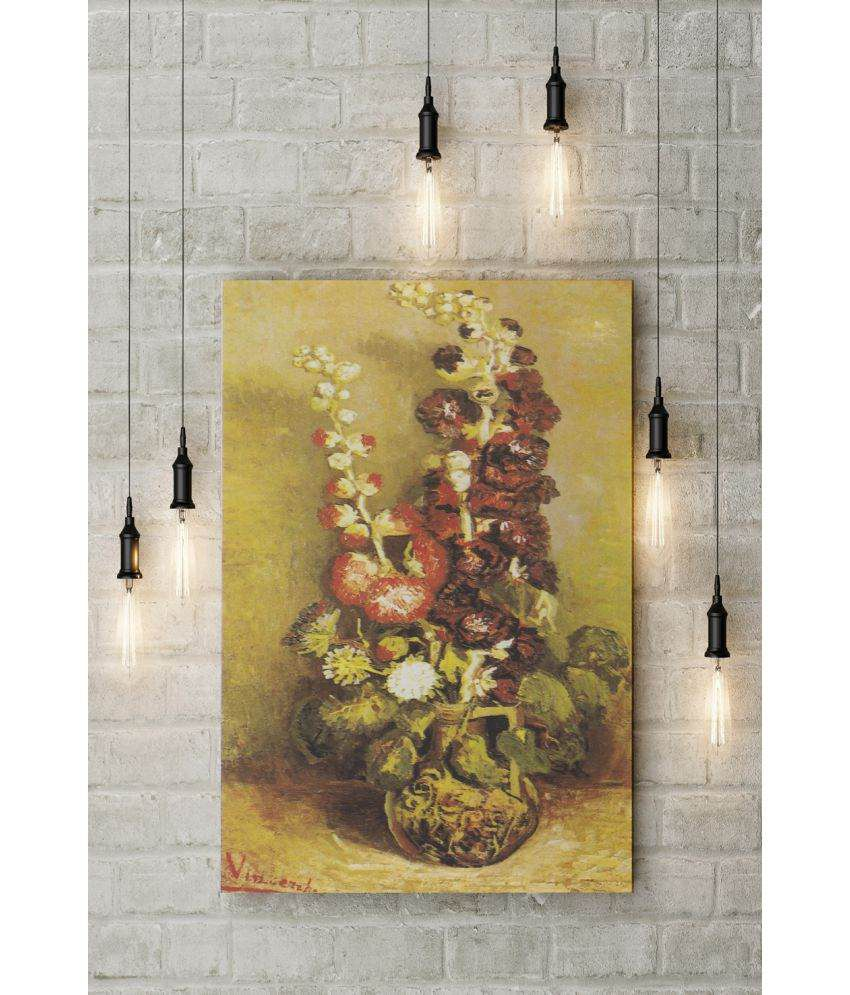 Canvs Vase with Hollyhocks, 1886 Wood Art Prints With Frame Single Piece