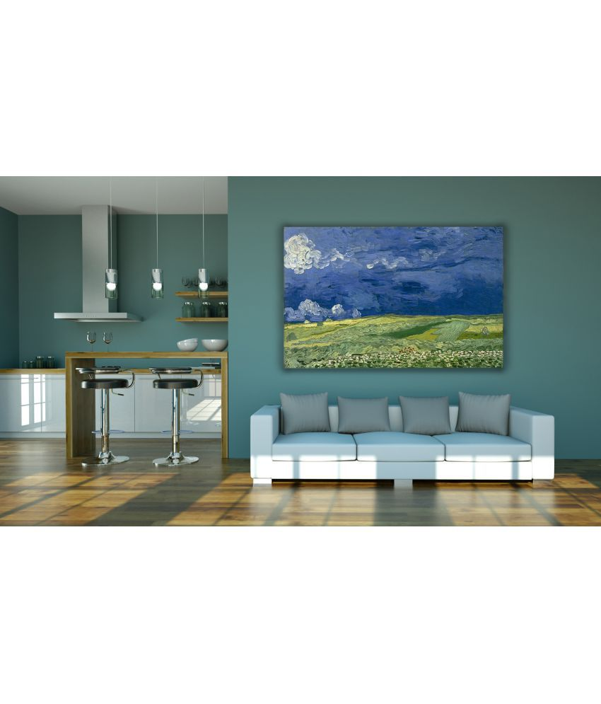 Canvs Wheatfield Under Thunderclouds, 1890 Wood Art Prints With Frame Single Piece