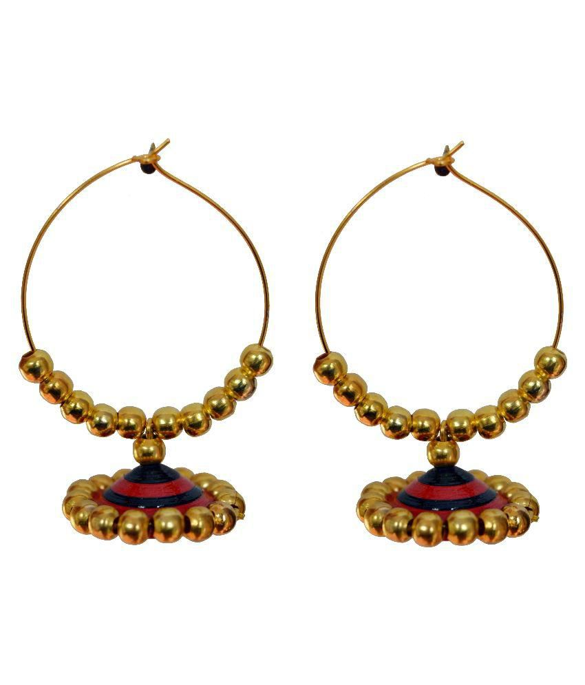 Kaagitham black and red big ethnic handmade paper quilling hoop jhumka earrings