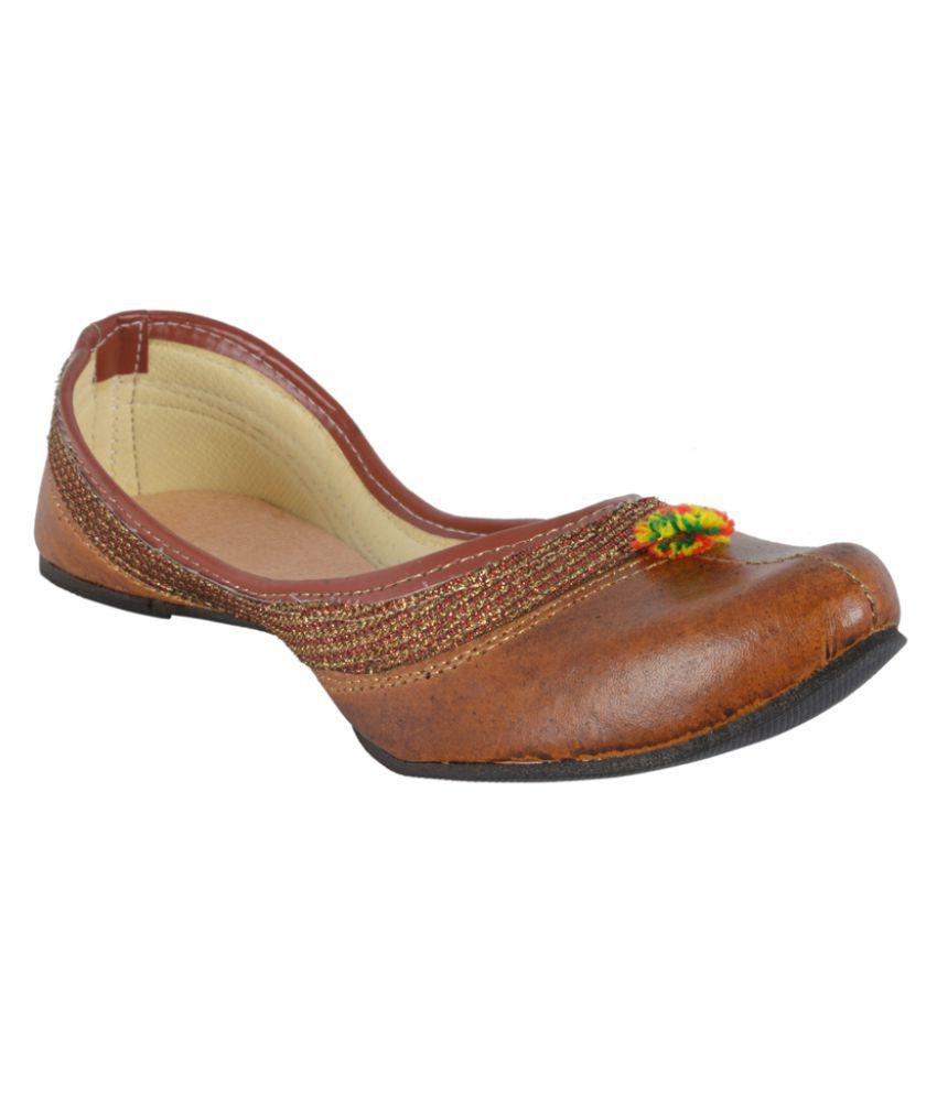 DFR Brown Flat Ethnic Footwear