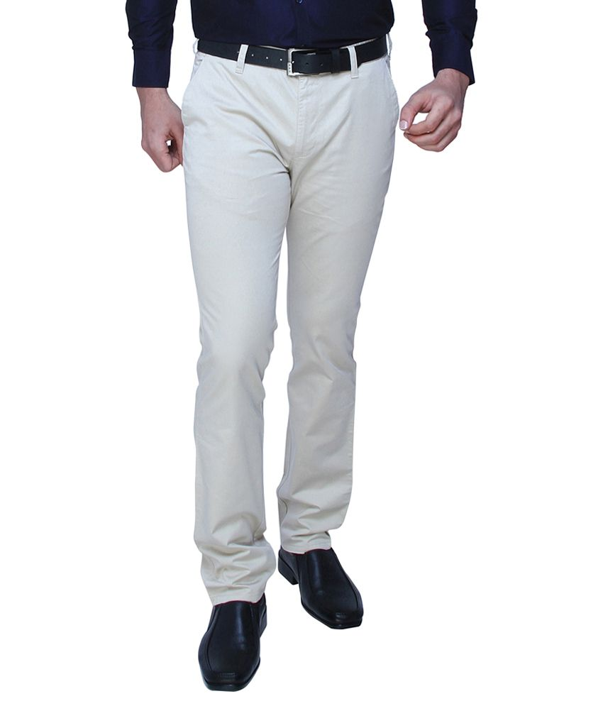 Dj&C by Fbb  Off White Tapered Fit Trouser