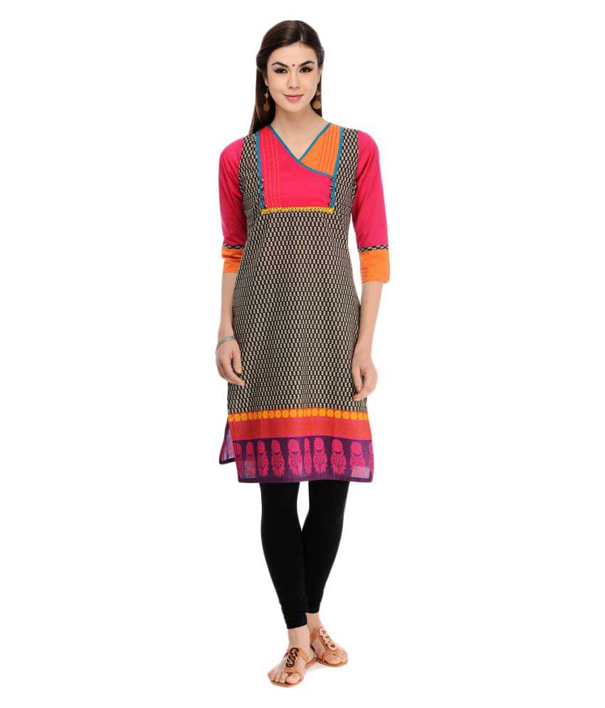Taaga Multicoloured Cotton Straight Kurti