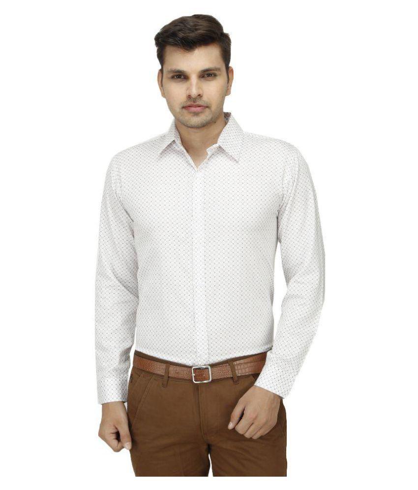 Leaf Shirt White Partywear Regular Fit Shirt Single