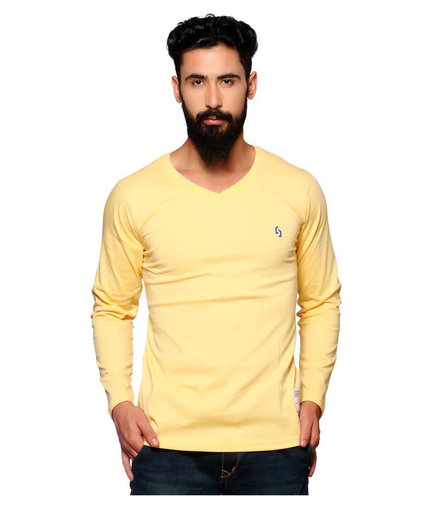 Nucode Yellow V-neck T-Shirt