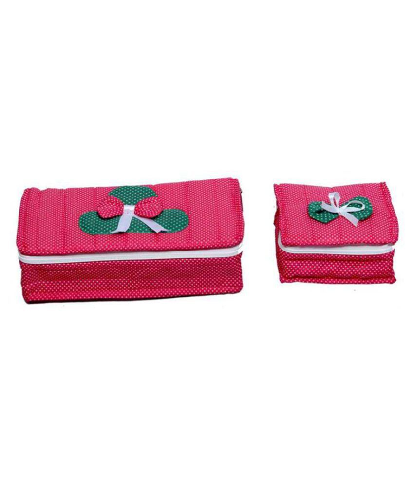 Hanu Enterprises Pink Fabric Jewellery Box