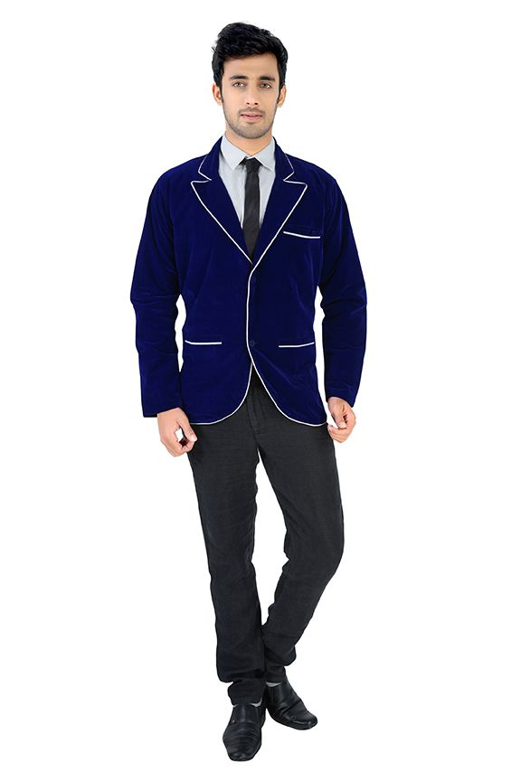 NU ABC Garments Blue Velvet Blazer For Men