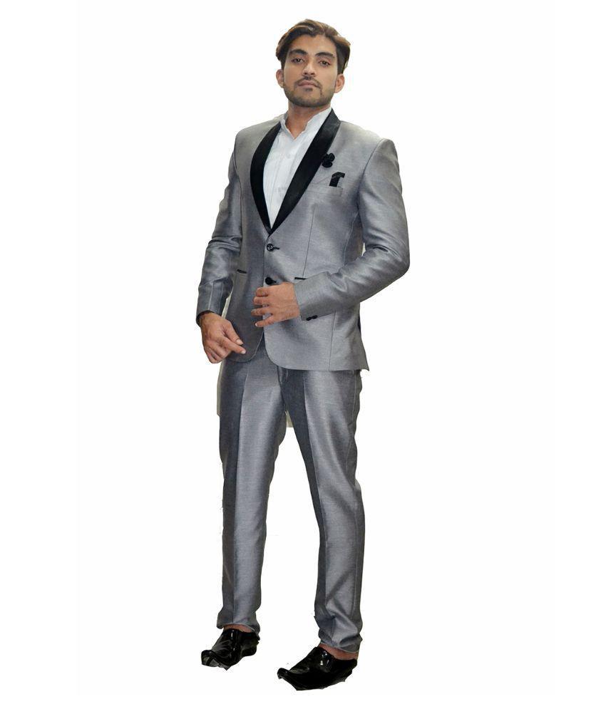 City & Club Grey Solid Party 2 Piece Suits