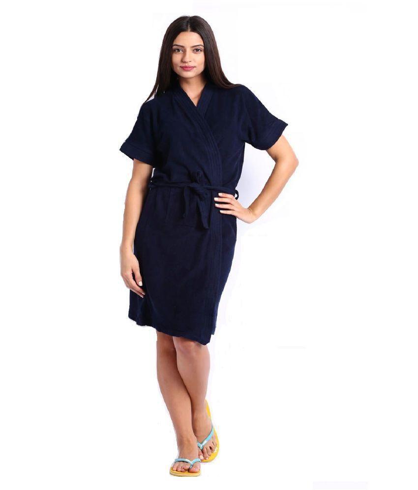 FeelBlue Navy Cotton Bathrobes (Free Size)