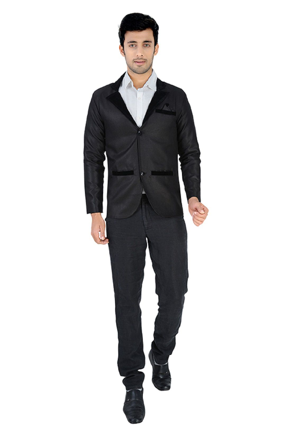 Nu Abc Garments Black Plain Blazer For Mens