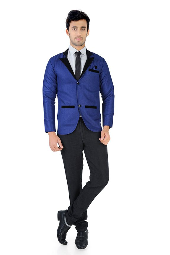 Nu Abc Garments Blue Solid Party