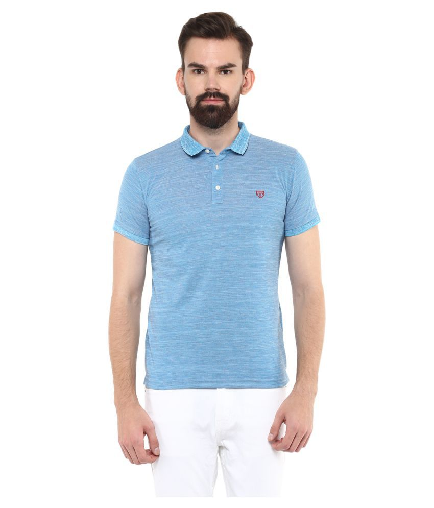 Tinted Blue Cotton Blend Polo T-shirt Single Pack