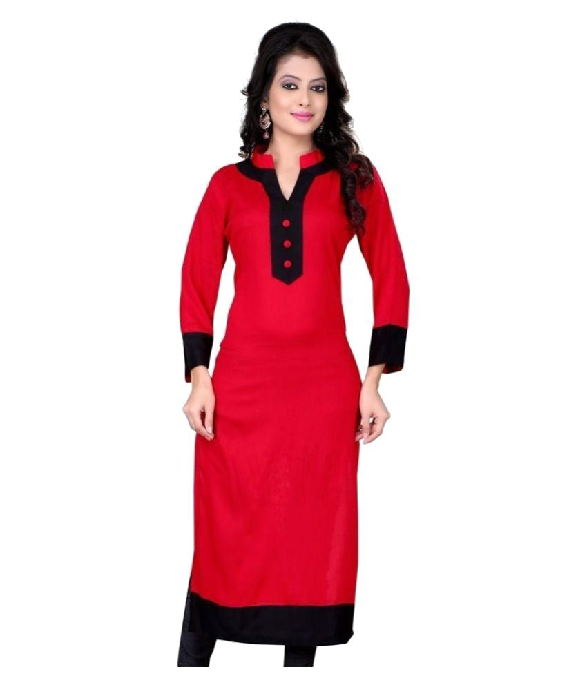 Param Red Cotton Straight Kurti