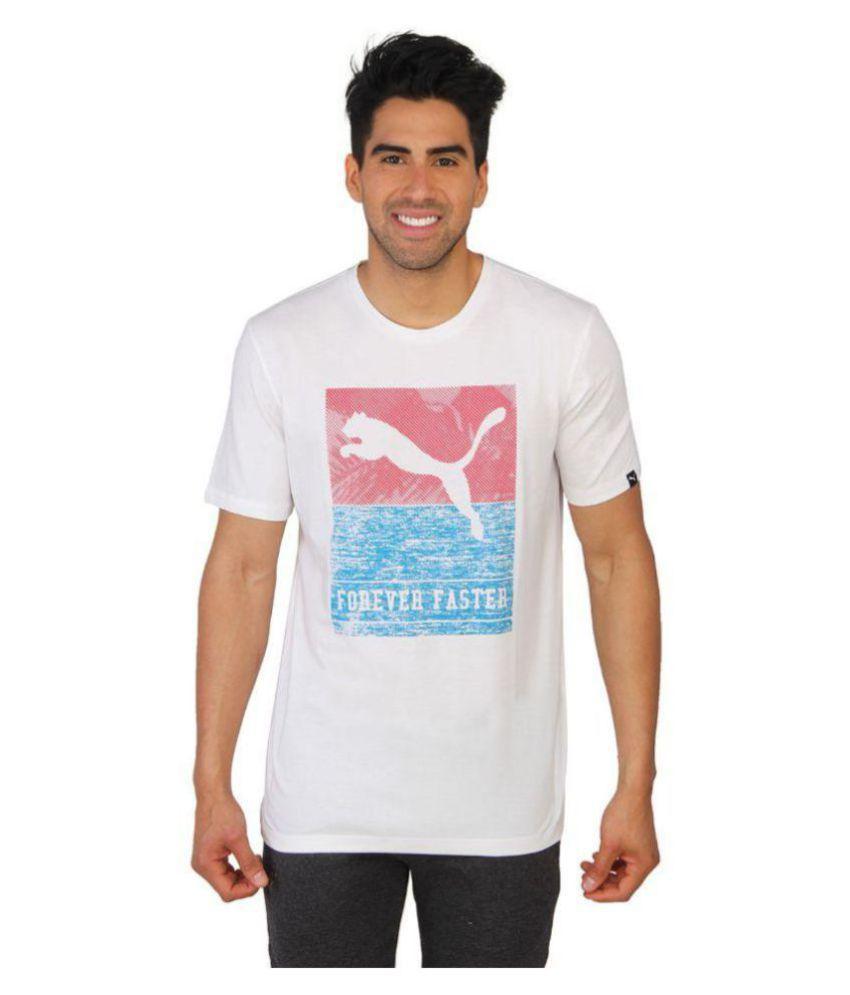 Puma White Cotton T-Shirt\n