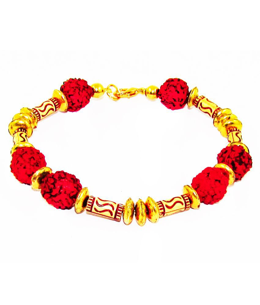 D&D Religious Rudraksha Beads Glossy Shine Gold Plated Bracelet For Men