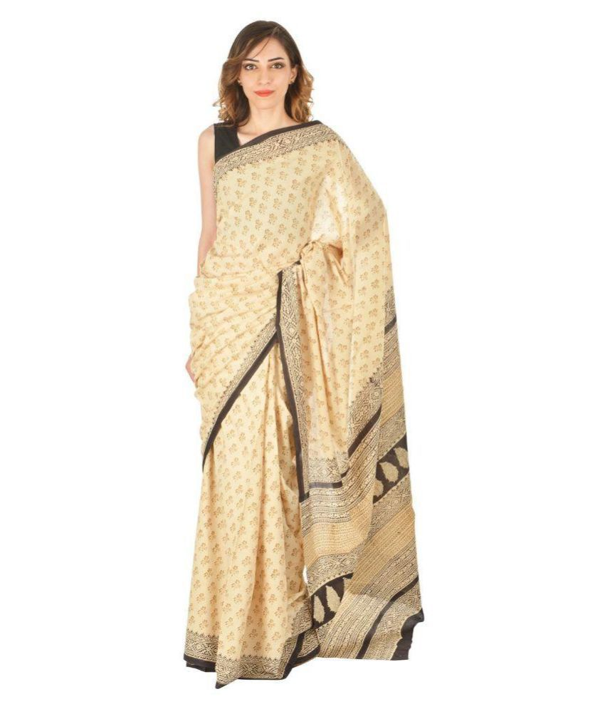 Korie Beige Cotton Bagru Saree