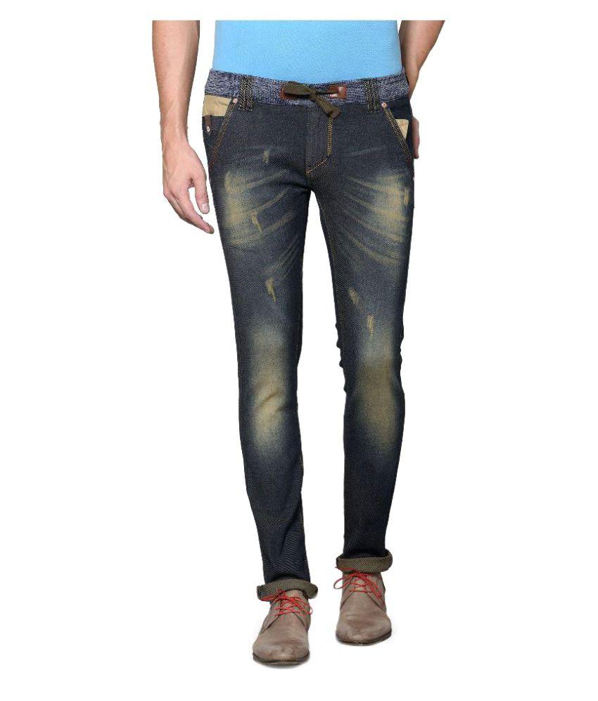 Azov Fashions Dark Green Slim Fit Jeans