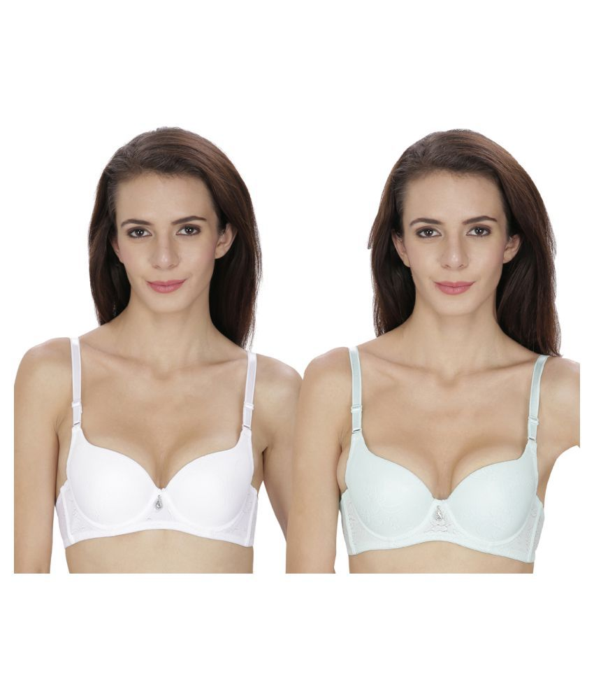 By The Way Multi Color Poly Cotton T-Shirt/ Seamless Bra