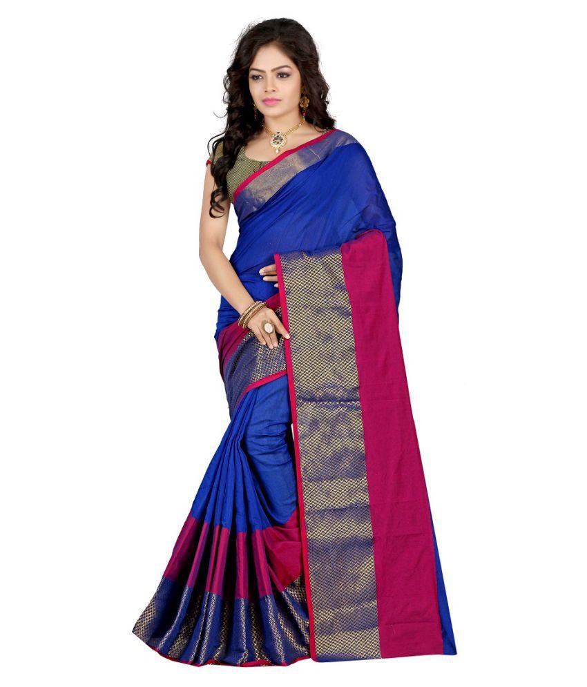 Gopalvilla Blue Cotton Silk Saree