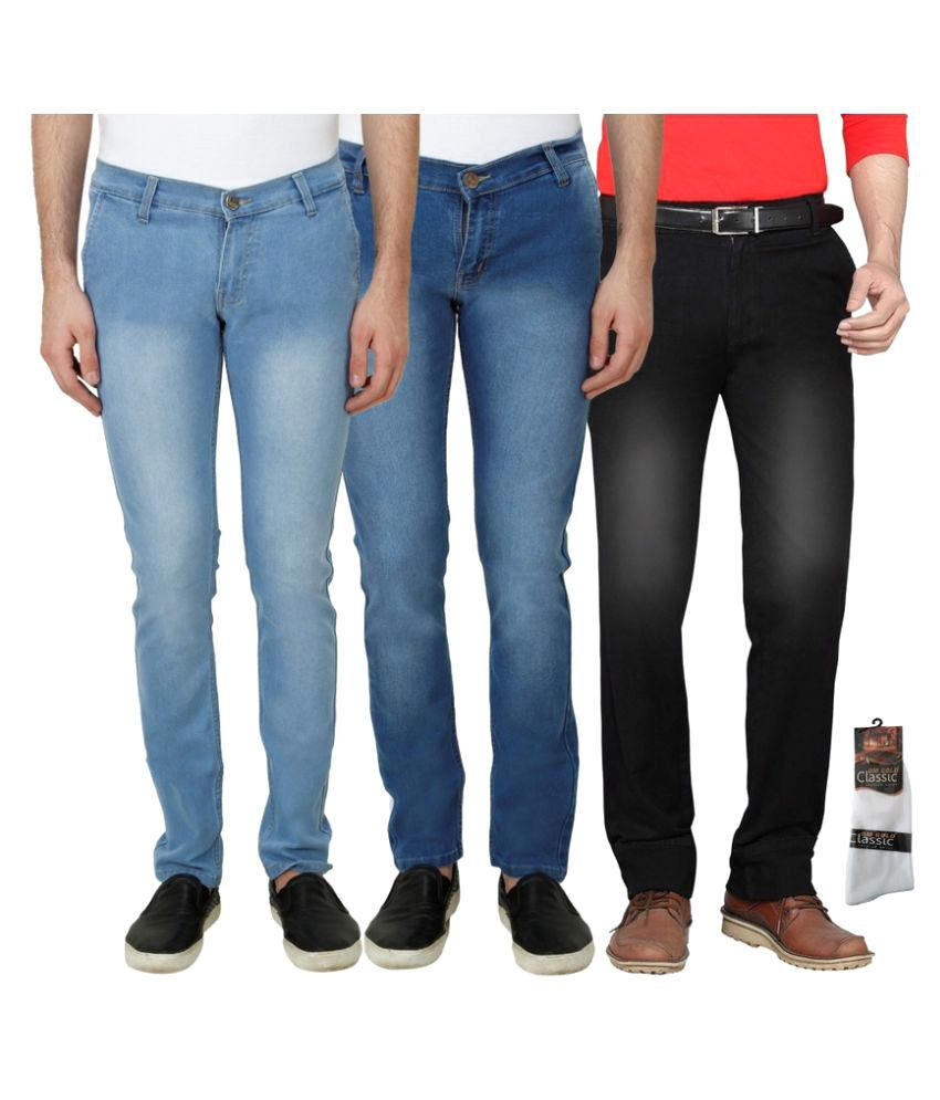 Haltung Multi Slim Faded Combo of 3 Jeans With Socks