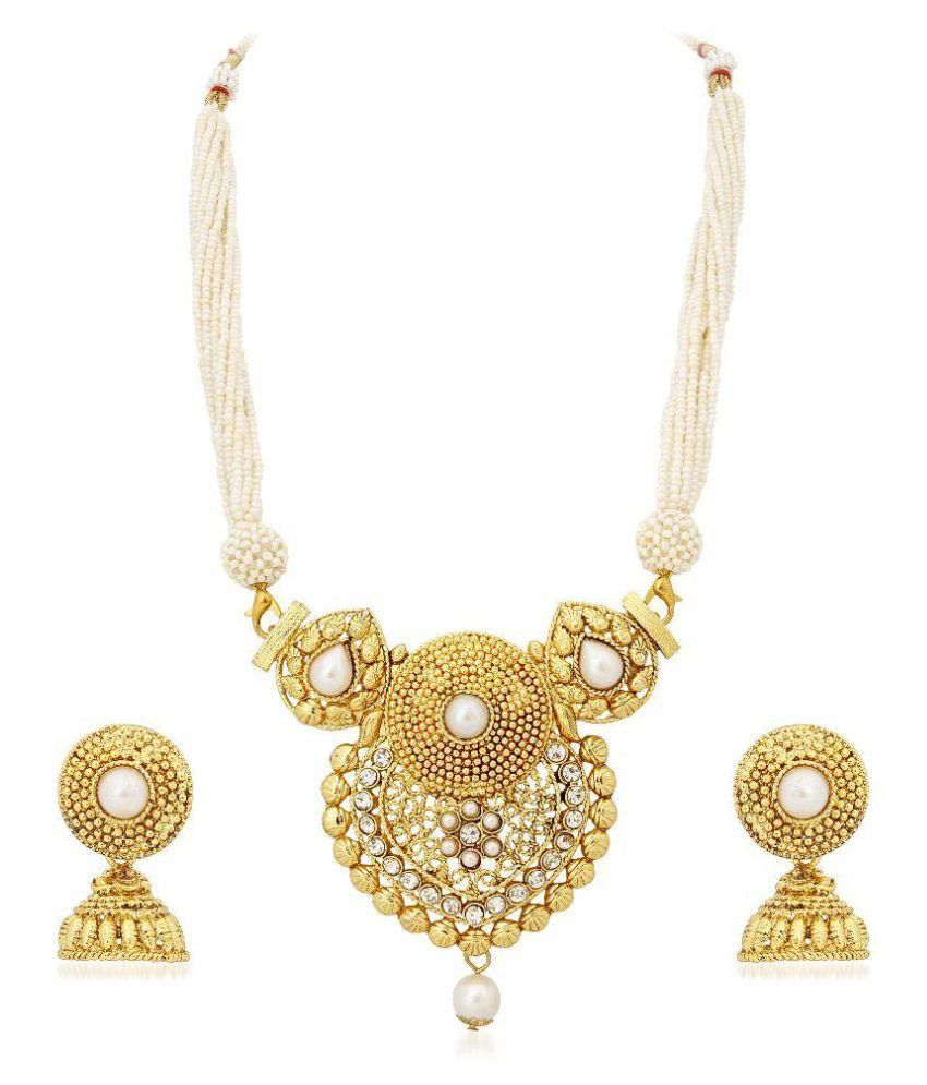Meenaz Traditional Gold Plated American Diamond Necklace Set