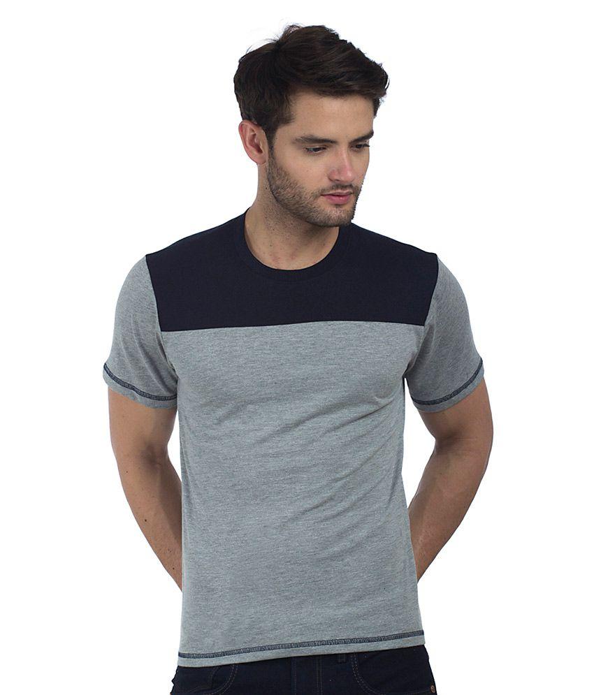 Five-Stones Grey Round T-Shirt